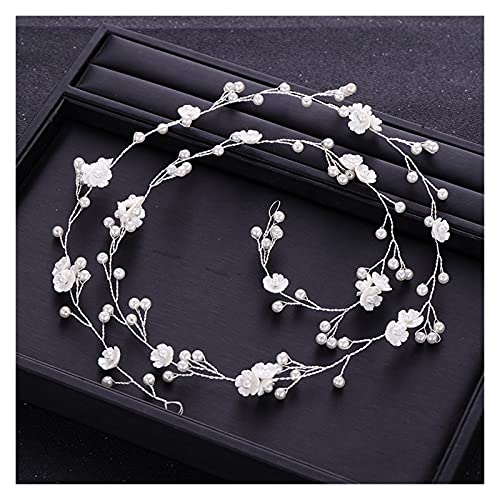 YSJJSQZ Banda para el Cabello Trendy Silver Color Tiara Headband Flower Pearl Bride Banda de Pelo...*