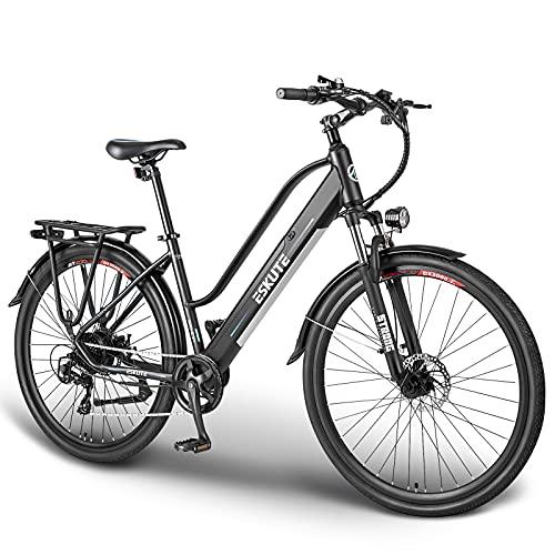 ESKUTE Bicicleta Eléctrica Wayfarer 28'' E-Bike Urbana Trekking Holandesa para Adultos Unisex, Batería de Litio Extraíble 36V 10Ah, 250W Motor, Compañero Fiable para el día a día
