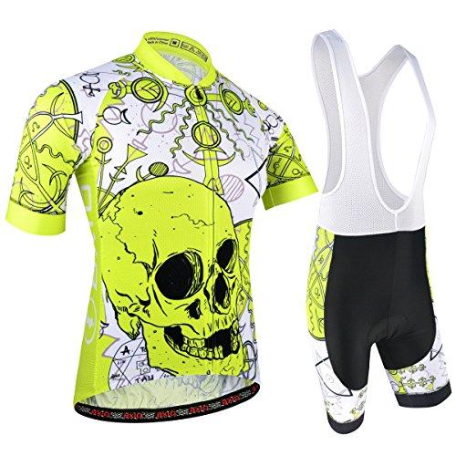 BXIO Maillot Ciclismo Hombre, Ropa Ciclismo y Culotte Ciclismo con Culotte Pantalones Acolchado 3D para Deportes al Aire Libre Ciclo Bicicleta, Cráneo, Amarillo, XXL