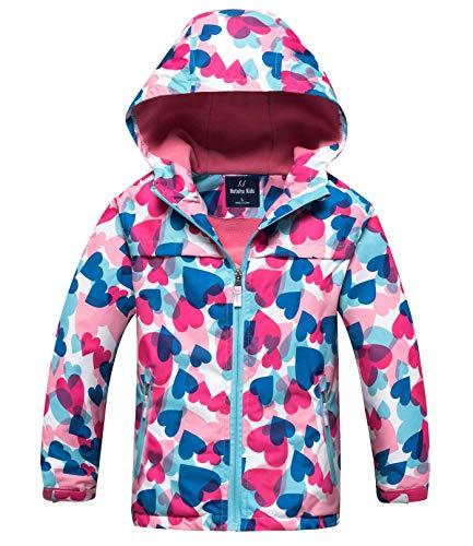 HUTUHU - Chaqueta Deportiva Outdoor Jacket Impermeable con Capucha Chubasquero para Niña Chica - Talla XL