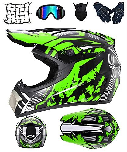 DRYT Casco Motocross Niño, Casco de motocross profesional Cascos de Cross de Moto Set con Gafas/Máscara/Guantes, para MTB Casco Enduro MX Quad ATV de Descenso (C,L: 59-60 cm)