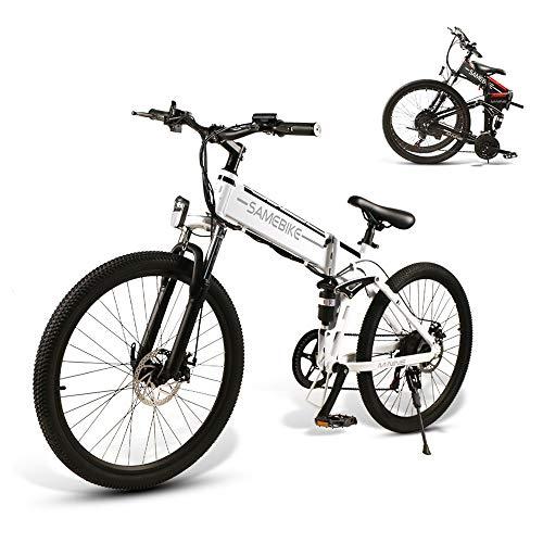 SAMEBIKE Bicicleta Electrica Montañade 26 Pulgadas, Mountain Bike Motor de 500W con Batería Extraíble de 48V 10 Ah, Bicicletas Eléctricas Plegables con Instrumento LCD Central & Autonomía Buena