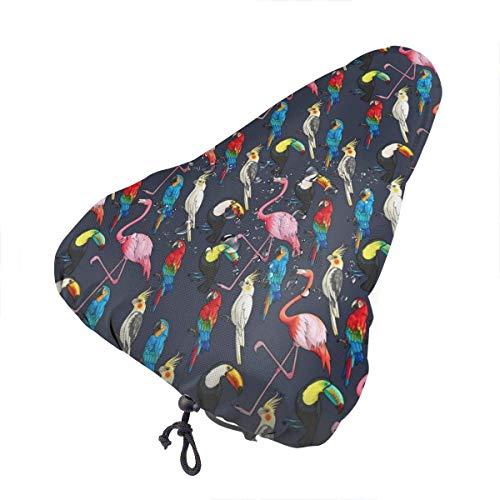 QQIAEJIA Cubierta de Asiento de Bicicleta Impermeable Estampado de pájaros exóticos para Bicicleta Sol Protección contra la Lluvia y el Polvo UV