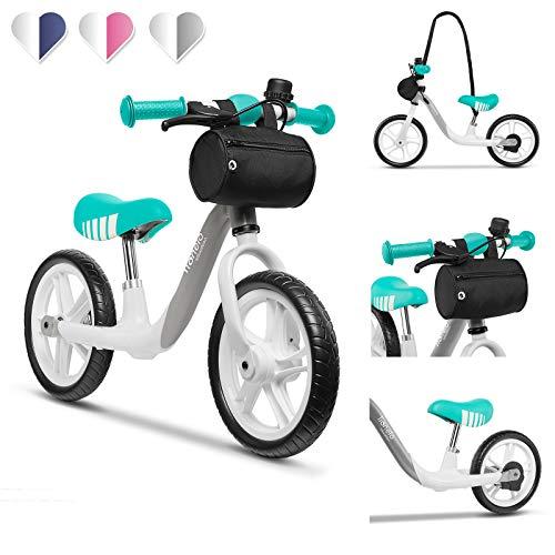 Lionelo Arie Bicicleta de equilibrio 39 x 88 x 64 cm Para niños de hasta 30 kg Ruedas de 12 pulgadas Freno de mano Manillar y sillín ajustables y cómodos Cinturón para transporte Grafito