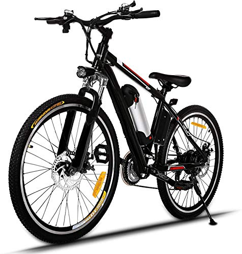 ANCHEER Bicicleta Eléctrica de Montaña, E-Bike 26 Pulgadas, Batería de Litio 250W 36V Desmontable, Sistema de Transmisión de 21 Velocidades, con Linterna (Negro)
