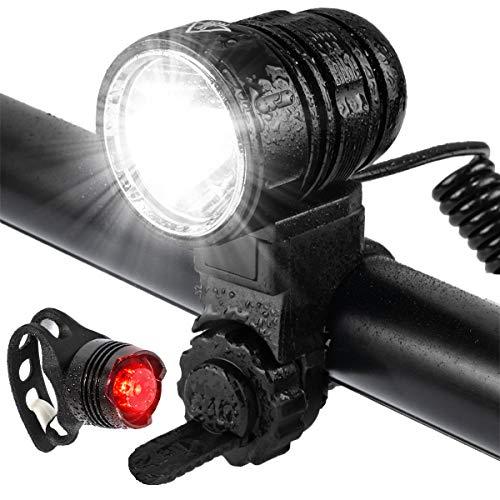 Luz Bicicleta, USB Recargables Luces Bicicleta, Alto Brillo de hasta 1200 lúmenes, 5 Modos Iluminación, Luz de Bicicleta Impermeable, Al Aire Libre LED Luces Bici Delantera and Luces Trasera Kit