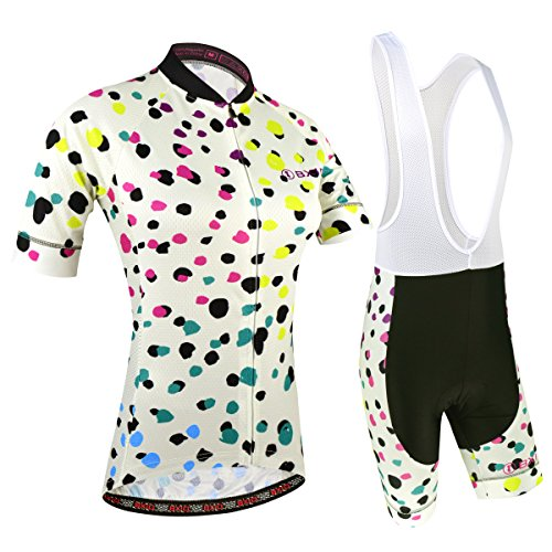 BXIO Maillot Ciclismo Mujer, Ciclismo Conjunto de Ropa con Culotte Pantalones Acolchado 3D para Deportes al Aire Libre Ciclo Bicicleta, Florales, XL