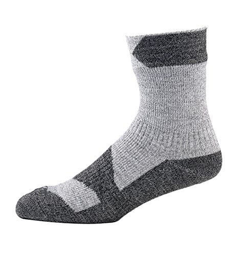SEALSKINZ Caminar Calcetines Delgados del Tobillo Walking Thin Ankle Socks, Unisex-Adult, Marfil/Gris Oscuro, XL