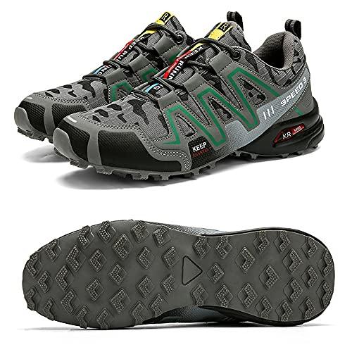 CHUIKUAJ Zapatillas de Ciclismo Zapatillas de Bicicleta de Carretera para Hombre Zapatillas de Bicicleta de Montaña Zapatillas de MTB,Zapatos para Correr Casuales,Grey-43EU