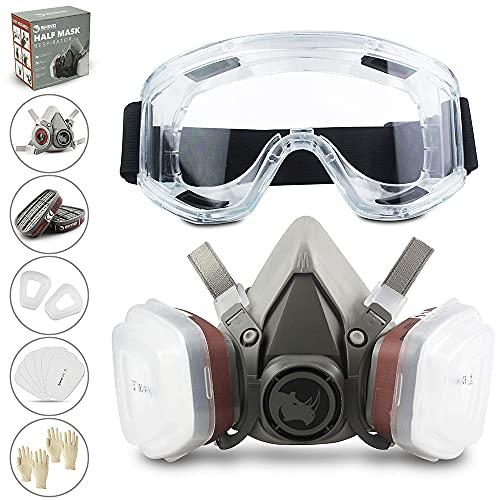 RHINO Smart Solutions - Cubierta Facial (Semi-Cara) Antipolvo Reutilizable con Gafas, Guantes, 6...*