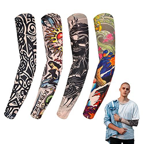4 Mangas Falsas de Tatuajes Temporales de Nailon Elástico, Mangas de Brazo de Tatuaje, Mangas de Protección Solar de Brazos Accesorios de Deslizamiento de Medias de Tatuaje de Halloween