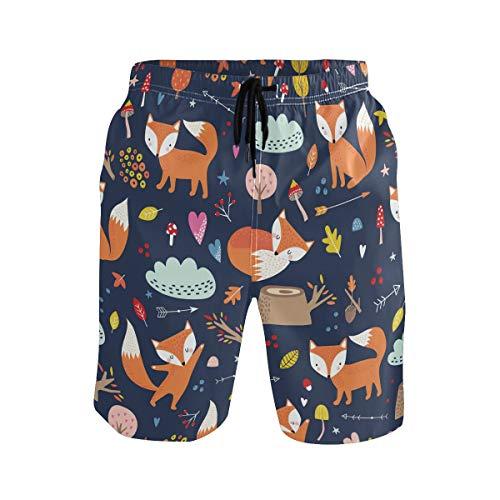 Cute Fox - Bañador para hombre, de secado rápido, con bolsillos, diseño de zorro Multicolor multicolor XXL