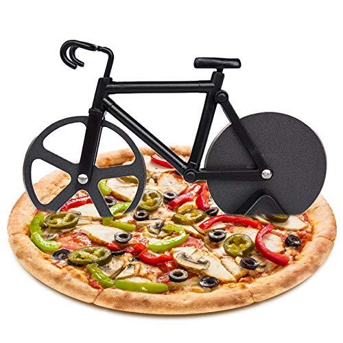 N\O Besylo Pizza con Forma de Bicicleta, Cortador de Pizza con Forma de Bicicleta con Soporte, Ruedas de Corte de Acero Inoxidable, Cortador de Pizza y Masa, para Utensilios de Cocina