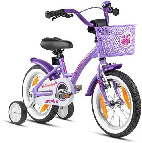 Prometheus Bicicleta para niños de 3 a 5 años   Bicicleta Infantil 4 años para niñas 14 Pulgadas con ruedines en Morado y Blanco