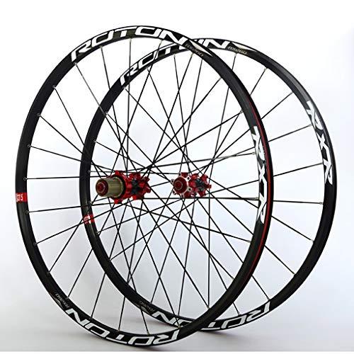 Juego Ruedas MTB 26 27.5 29' Bicicleta Delantera Y Rueda Trasera Llantas Aleación Doble Pared Bujes Carbono 24H QR Freno Disco Rodamiento Sellado NBK Para Casete 7-11S ( Color : Black , Size : 29' )