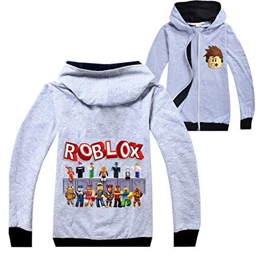Roblox Chaqueta Niños Cremallera Suéter Adolescente Sudadera Niñas Manga Larga Camiseta Algodón Otoño Deporte Tops Correr Ropa, Grey1, 11-12 Años