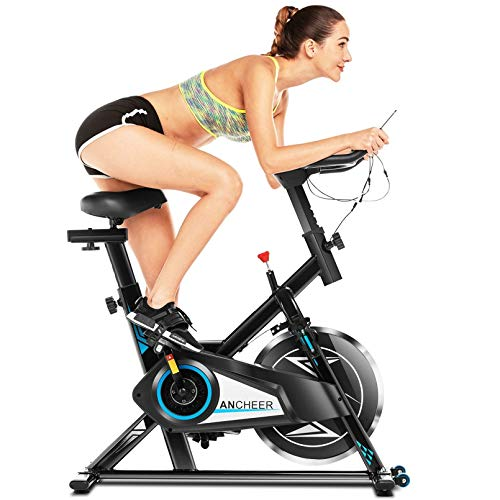 ANCHEER Bicicleta Spinning, Bicicleta Estática Fitness Interior Bicicletas de Ejercicio, Volante de...*