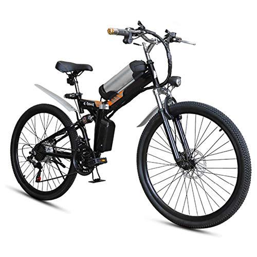 Bicicleta eléctrica, Bici de montaña plegable eléctrica, 26 * 4Inch Fat Tire 7 velocidades Ebikes para adultos con Híbrido luz delantera LED de doble freno de disco de la bicicleta de 36V / 8AH,Negro