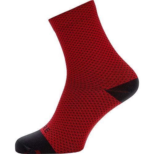 GORE WEAR C3 Calcetines para ciclismo unisex, Talla: 44-46, Color: rojo/negro