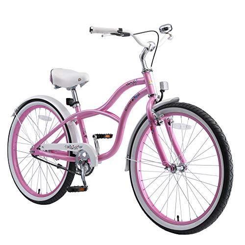 BIKESTAR Bicicleta Infantil para niños y niñas a Partir de 10 años | Bici 24 Pulgadas con Frenos | 24' Edición Cruiser Rosa