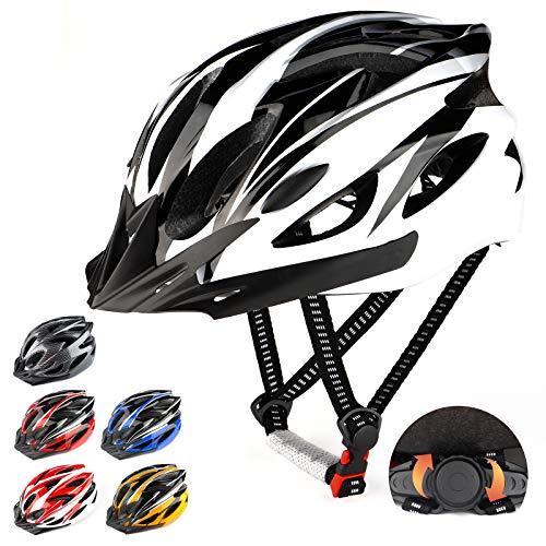 RaMokey Casco de Bicicleta para Adultos,Casco de Bicicleta de montaña con Visera extraíble y Acolchado,Casco Ajustable 57-63cm