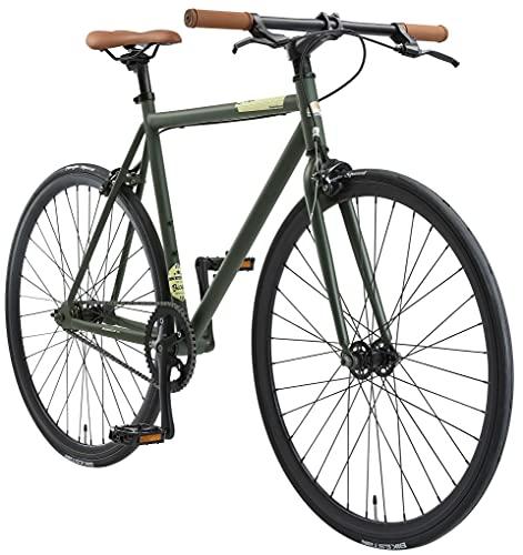 BIKESTAR Bicicleta de Paseo, Single Speed 700C Ruedas 28' | Bici de Carretera Cuadro 53 cm Retro Vintage Bici de Ciudad para Hombres y Mujeres | Verde