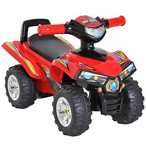 HOMCOM Quad Correpasillos Infantil Coche sin Pedales para Bebé Juguete Andador Estilo Carrera con Bocina Música Luces 60x38x42cm