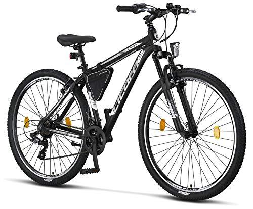 Licorne Bike Effect Premium - Bicicleta de montaña de 29 pulgadas - para niños, niñas, hombres y mujeres - Cambio de 21 velocidades - para hombre - Negro/Blanco- Freno V