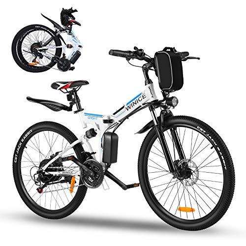 Vivi Bicicleta Eléctrica Plegable,Bicicleta Electrica Montaña de 26 Pulgadas,Bici Electrica Plegable de 250 W para Adultos,Batería Extraíble de 36 V 8 Ah, Shimano de 21 Velocidades,25km/h,3 Modos