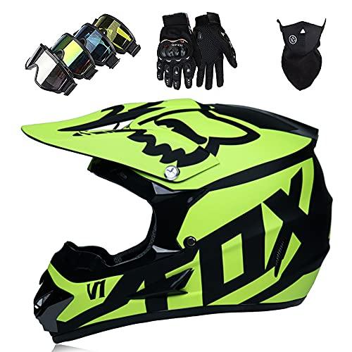 Casco Moto Niño, Casco Motocross Infantil y Adultos DOT Aprobado Casco Integral MTB con Guantes...*