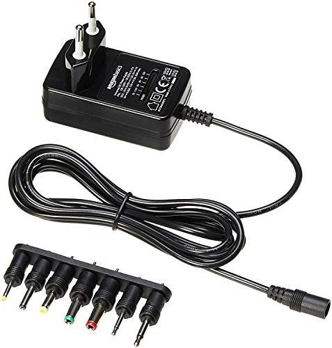 Amazon Basics - Adaptador de fuente de alimentación de CC, universal, con 7 conectores intercambiables, 3-12 V, polaridad reversible