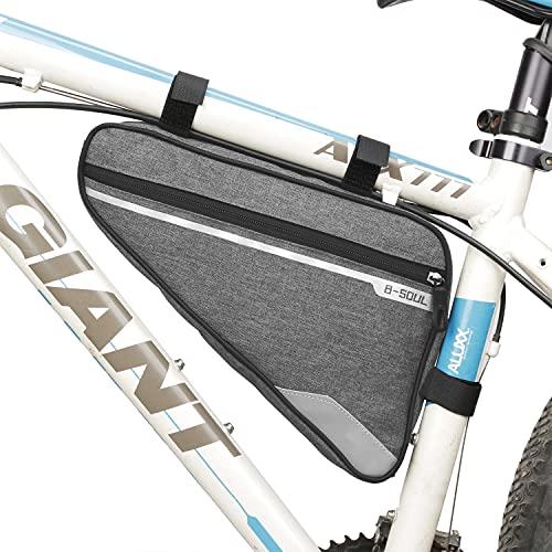 FLYEER Bolsas Bicicleta Cuadro,Bolsa Triangular de Bicicleta,Bolsa del Tubo Frontal con Tiras Reflectantes,Bolsa Triangular de Gran Capacidad Adecuado para MTB Bicicleta Carretera, Bicicleta Montaña