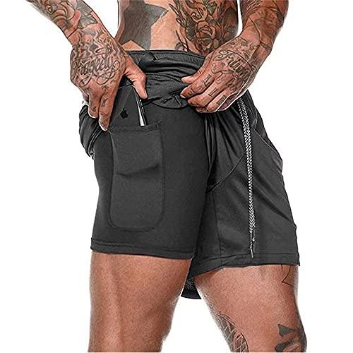 Pantalón Corto para Hombre,Pantalones Cortos Deportivos para Correr 2 en 1 con Compresión Interna y Bolsillo para Hombres (Black, XXL, XX_l)