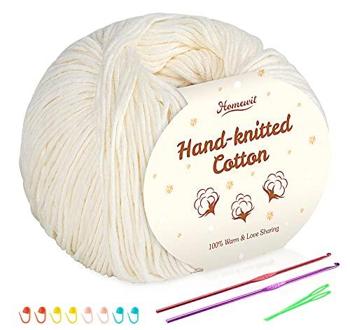 Hilo de algodón beige de 6 unidades, 100% algodón para bebé, supersuave, para ganchillo y punto, (50 g/bola) con 2 ganchos de metal (2,5-3,5 mm) Baby Fluffy Ball para tejer a mano.