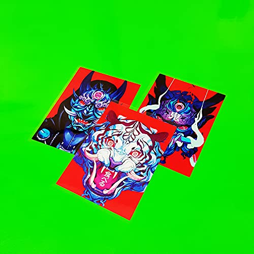 BUCUO Etiqueta engomada Decorativa Personalizada de la Motocicleta eléctrica del Coche Totem Samurai Skull White Tiger Calcomanía Reflectante