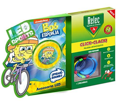 Relec Relec Pulsera Antimosquitos Bob Esponja Ciclismo   Eficaz Contra El Mosquito Tigre. Resistente Al Agua   Contiene 2 Recargas   Duración 2 Meses 150 g