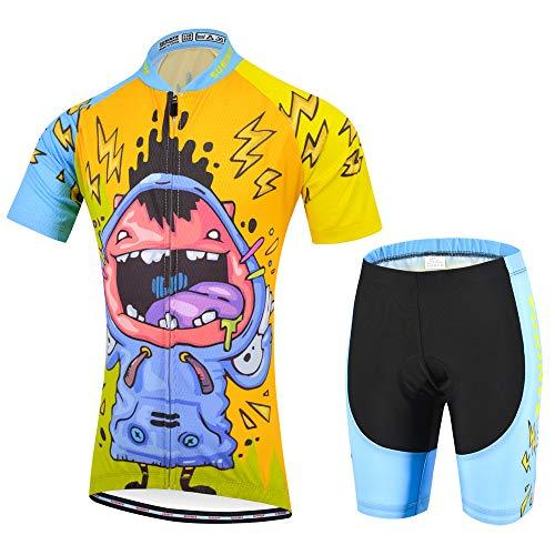 Traje Ciclismo Niño Verano, Transpirable y elástico Maillot Ciclismo y Pantalon para MTB, Ropa Ciclismo para Bicicleta de Carretera (XS, Risa)