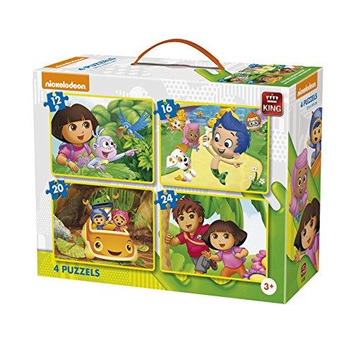 King Nickelodeon 4in1 Puzzle Puzzle - Rompecabezas (Puzzle rompecabezas, Dibujos, Niños, Nickelodeon, Dora, Diego, Bubble Guppies, Team Umizoomi, Niño/niña)