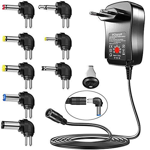 PChero 30W DC AC Adaptador de Fuente de Alimentación 3V / 4.5V / 5V / 6V / 7.5V / 9V / 12V con 6 Conectores Intercambiables - 2000mAh