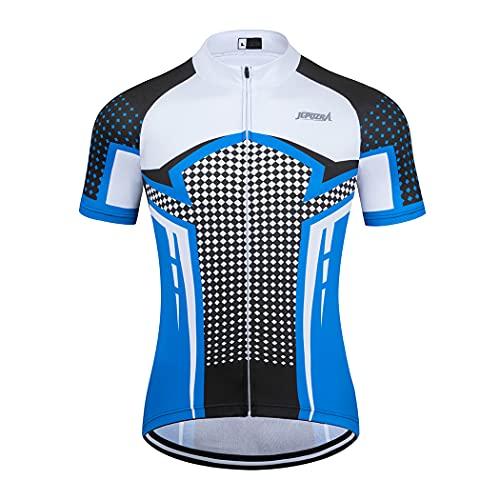 Maillot Ciclismo Hombre Verano Maillot MTB de Manga Corta Camiseta Bicicleta Transpirables (Blanco,...*