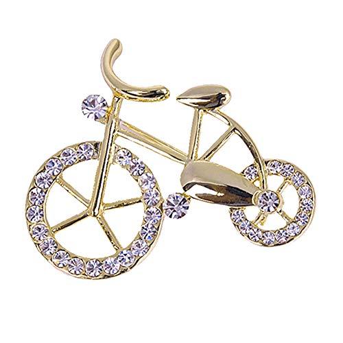 KeKeandYaoYao Broche con Forma de Bicicleta con Diamantes de imitación, Broche de joyería, Chaqueta, Bufanda, Collar, Bolsa de Regalo, Broche de Moda, Accesorios de Ropa