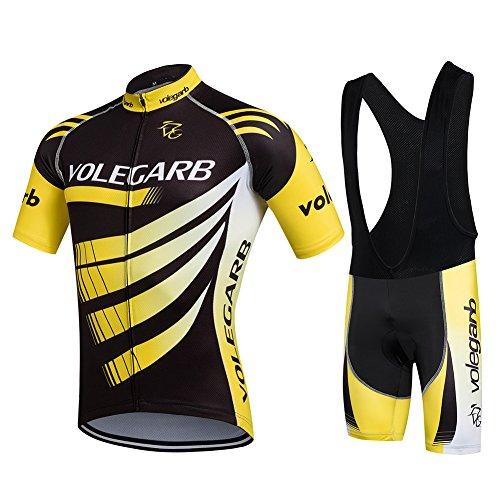 Cornasee Ropa Ciclismo Verano para Hombre Ciclismo Maillot y Culotte Pantalones Cortos (Amarillo,L)