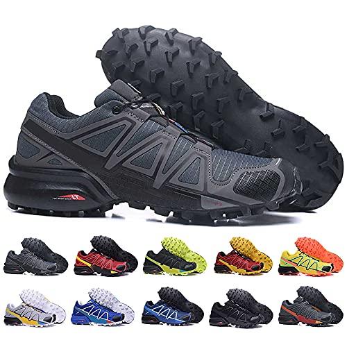 KUXUAN Zapatillas de Ciclismo Hombre Mujer Zapatillas de Senderismo Zapatillas de Running Zapatillas de Caminar - Ligeras y Transpirables,Grey-46