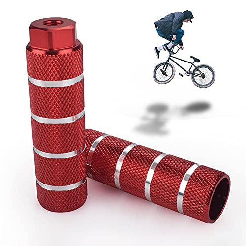 Clavijas para Pedales BMX Antideslizantes de aleación de Aluminio, Clavijas de Acrobacia BMX Clavijas de Bicicleta, Pedal de Bicicleta Apto para Ejes Delanteros o Traseros (Red)