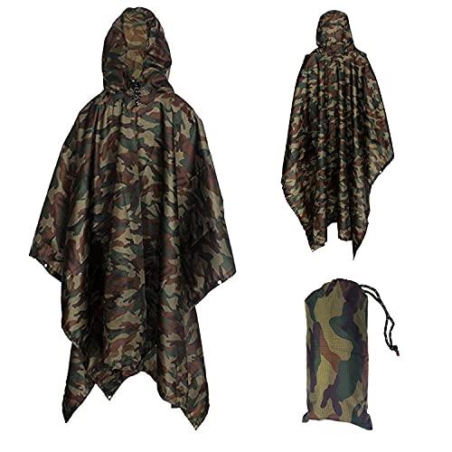 Yesloo Poncho impermeable extra largo multifuncional 3 en 1, impermeable unisex, alfombrilla para el suelo de la tienda, lona para sombrilla, capa impermeable de camuflaj, camping (Camuflaje)