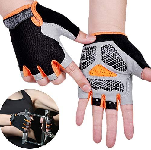 Guantes de gimnasio acolchados sin dedos Guantes de levantamiento de pesas Guantes de ciclismo para hombres y mujeres (naranja, L)