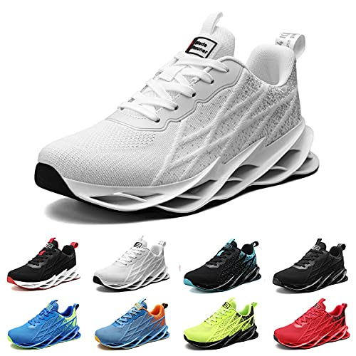 Zapatillas Running Hombre Deportivas Mujer Sneakers Casual para Correr Gimnasio Tenis Fitness Comodos Deportivos Calzado Ligero Transpirable Bambas Negro Blanco G33White44