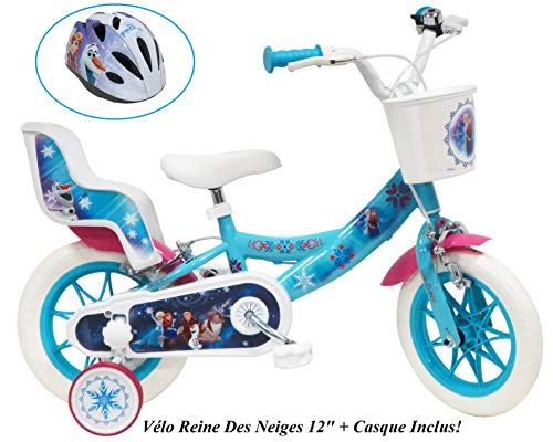 Disney / Frozen / Reine des Neige - Bicicleta de 12 pulgadas para niña, diseño de Frozen con 2 luces para muñeca y casco para niños, multicolor