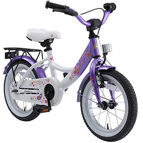 BIKESTAR Bicicleta Infantil para niños y niñas a Partir de 4 años | Bici 14 Pulgadas con Frenos | 14' Edición Clásica Violet Blanco