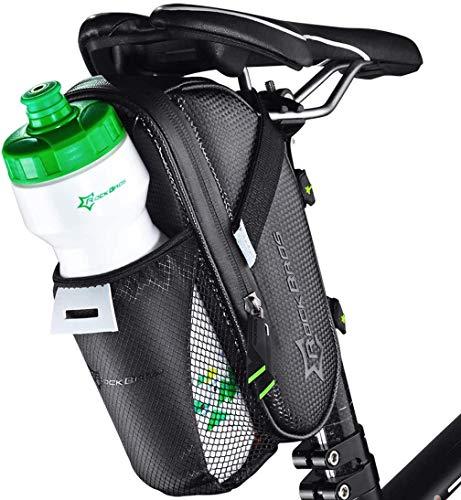 ROCKBROS Bolsa Sillín de Bicicleta, Alforja Asiento Impermeable Grande Multifunción para Bidón, para MTB Bicicleta Carretera